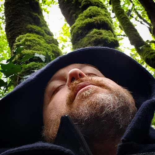 Un druide médite, tête posée contre un chêne moussu